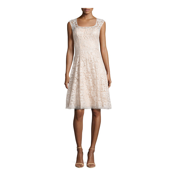 KAY UNGER Sleeveless Swing Dress with Lace Overlay - Kay Unger New York party dress in lace and organza. Approx....