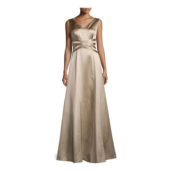 KAY UNGER Sleeveless V-Neck Satin Gown - Kay Unger New York satin gown features woven band detail at...