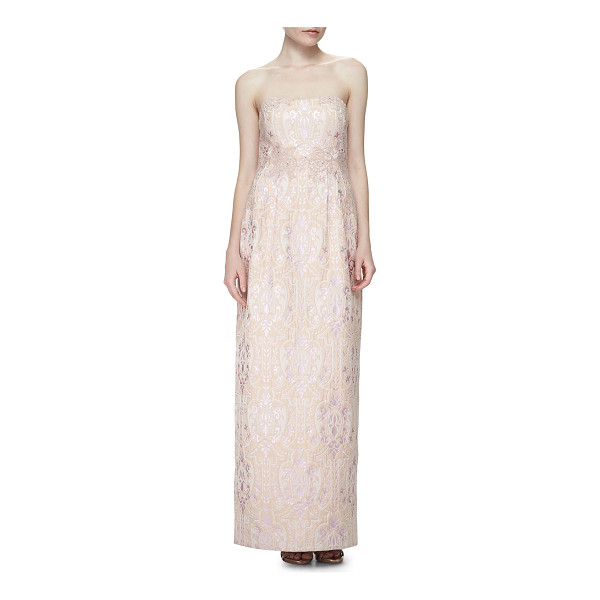 KAY UNGER Strapless Sequined Jacquard Column Gown - Kay Unger New York medallion-patterned jacquard gown with...