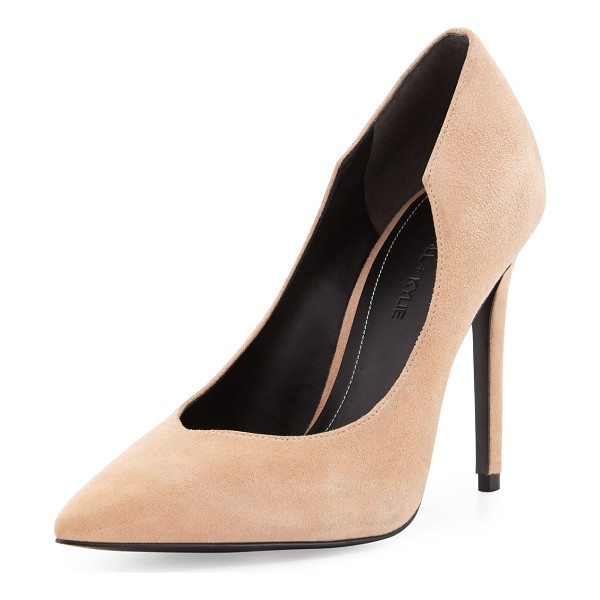 "KENDALL + KYLIE Abi Pointed-Toe Suede Pump - Kendall + Kylie suede pump. 4.3"" covered heel. Pointed toe...."