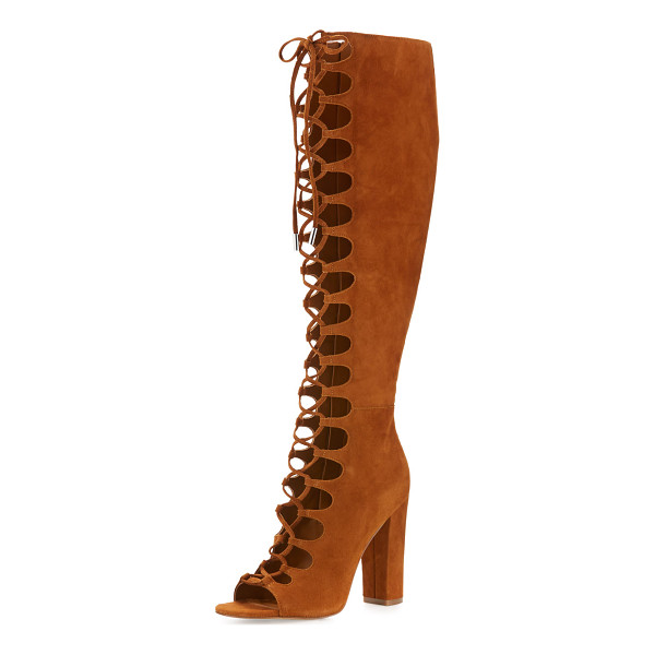 """KENDALL + KYLIE Emma lace-up gladiator boot - Kendall + Kylie suede gladiator boot. 4. 3"""" covered block..."""