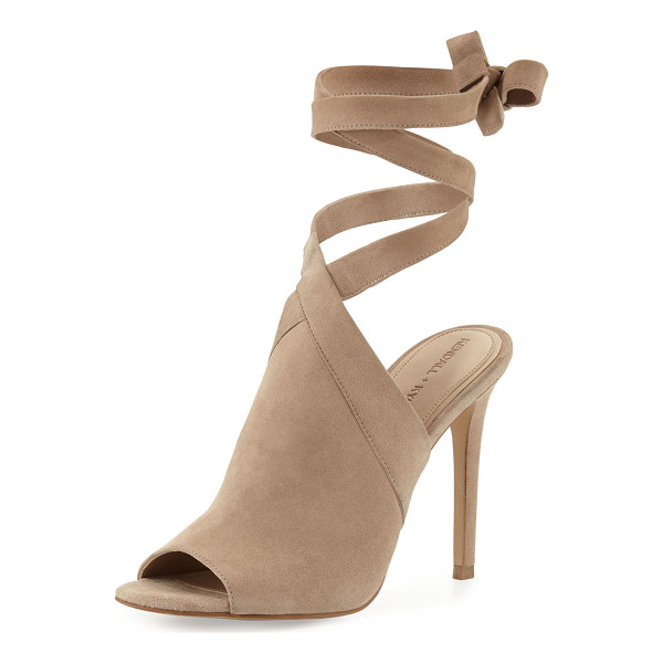 "KENDALL + KYLIE Evelyn Suede Wrap-&-Tie Sandal - Kendall + Kylie calf suede sandal. 4.3"" covered heel. Open"