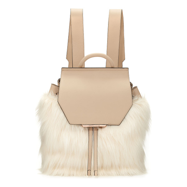 KENDALL + KYLIE Nancy Leather Faux-Fur Backpack - Kendall + Kylie leather backpack with faux-fur