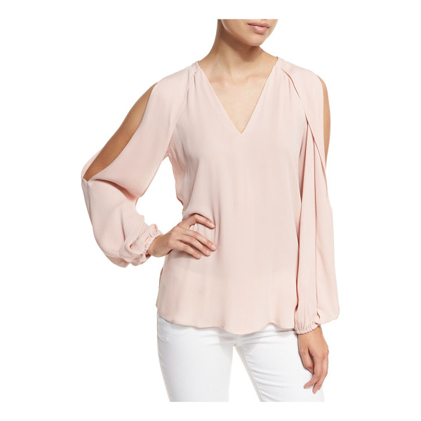 "KOBI HALPERIN Caroline V-Neck Split-Sleeve Cold-Shoulder Blouse - Kobi Halperin ""Caroline"" chiffon blouse with draped blouson..."
