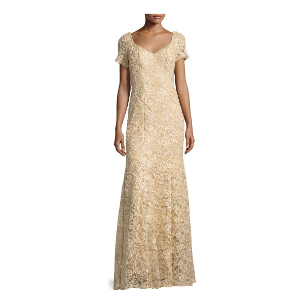 "LA FEMME Short-Sleeve Sequined Lace Gown - La Femme lace gown with sequin detailing. Approx. 60""L from..."