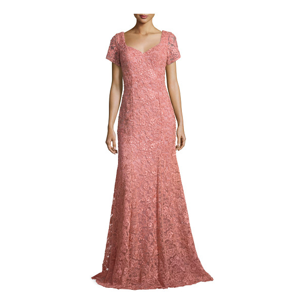 """LA FEMME Short-Sleeve Sequined Lace Gown - La Femme lace gown with sequin detailing. Approx. 60""""L from..."""