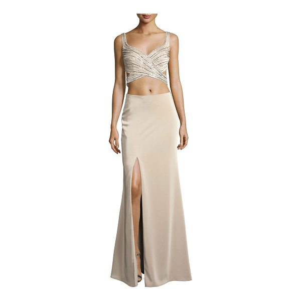 "LA FEMME Sleeveless Beaded Cutout Gown - La Femme evening gown with two-piece illusion. Approx. 49""L..."
