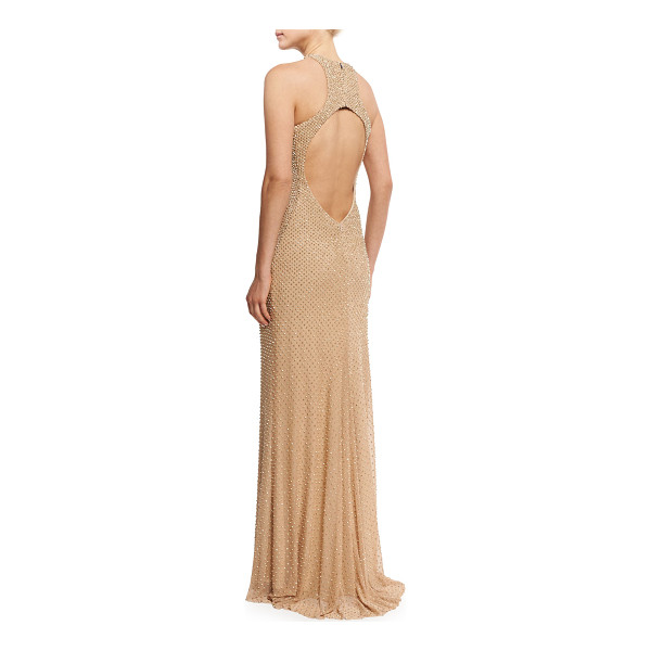 LA FEMME Sleeveless Studded Open-Back Column Gown - La Femme evening gown with tonal ombre beading. Grecian...