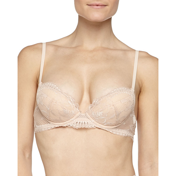 "LA PERLA SILVER Begonia lace push-up bra - La Perla Silver ""Begonia"" push-up bra with embroidered..."