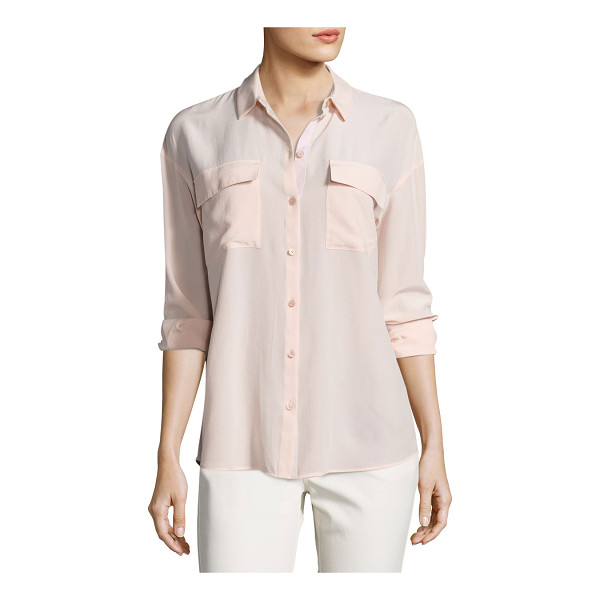 "LAFAYETTE 148 NEW YORK Pasha Long-Sleeve Button-Front Silk Blouse - Lafayette 148 New York ""Pasha"" blouse in sand-washed silk...."
