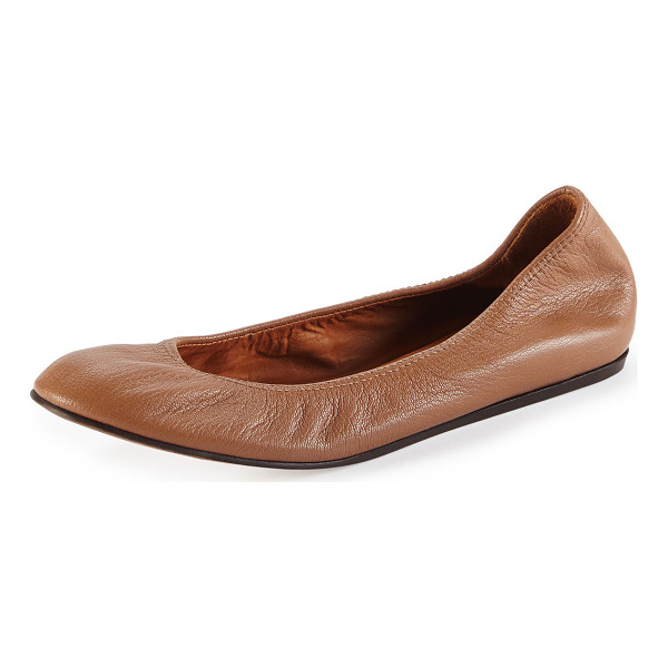 LANVIN Scrunched leather ballerina flat - Smooth goatskin ballet flat in Lanvin signature style. On...