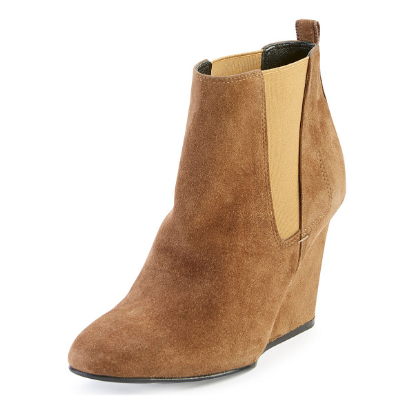 """LANVIN Suede Wedge Chelsea Boot - Lanvin suede Chelsea boot. 4"""" covered wedge heel. Round..."""