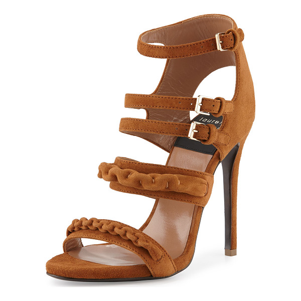LAURENCE DACADE Kimy Suede Chain Strappy Sandal - Laurence Dacade suede sandal with self-covered chain trim....