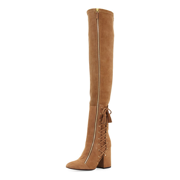 "LAURENCE DACADE Maren side-lace over-the-knee boot - Laurence Dacade stretch-suede over-the-knee boot. 3. 8""..."