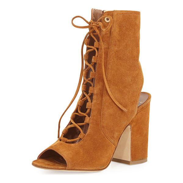 "LAURENCE DACADE Nelly Suede Lace-Up Bootie - Laurence Dacade suede bootie. 4"" covered block heel. Open"
