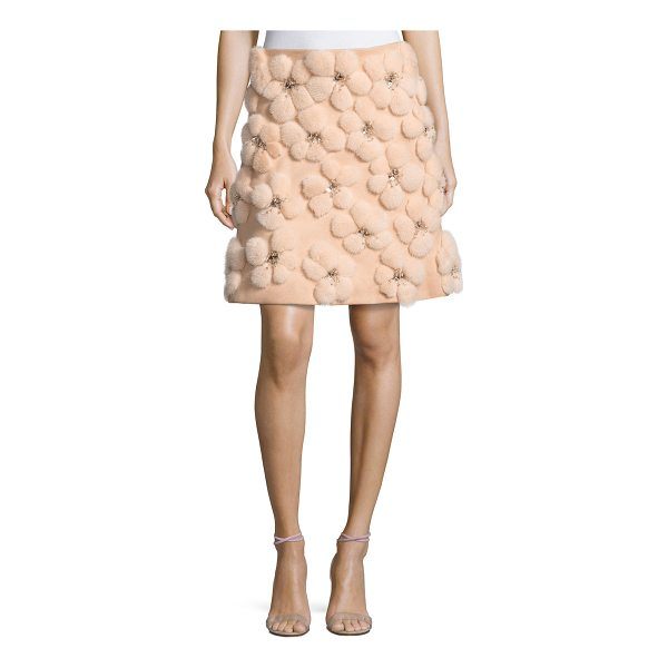 LELA ROSE A-line Miniskirt with Embellished Mink Flowers - Lela Rose miniskirt featuring dyed mink (USA) flowers with...