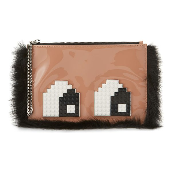 LES PETITS JOUEURS Envelope Eyes Leather Clutch Bag - Les Petits Joueurs patent leather clutch bag with dyed fox...