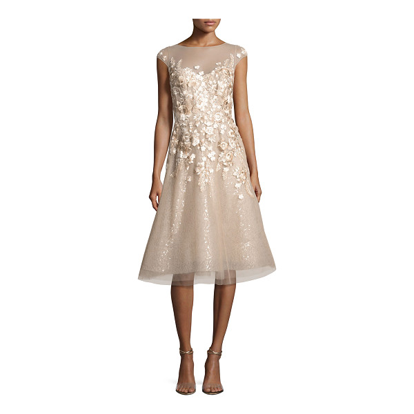 LIANCARLO Floral-Embroidered Cap-Sleeve Cocktail Dress - Liancarlo cocktail dress with floral-embroidered tulle over...