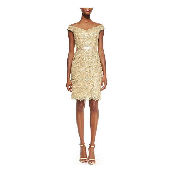 LIANCARLO Off-the-shoulder lace dress -  Shimmery golden guipure lace cocktail dress by Liancarlo....