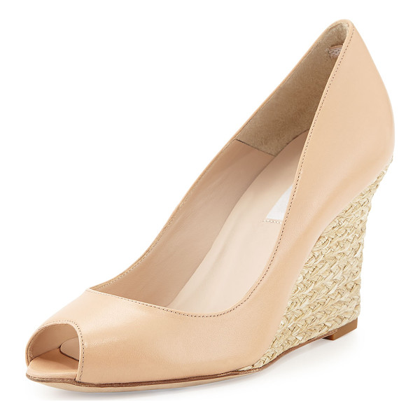 "L.K. BENNETT Estela open-toe jute wedge - L. K. Bennett wedge pump with leather upper. 3. 5"" jute..."