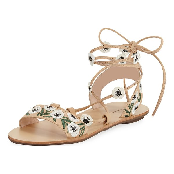LOEFFLER RANDALL Fleura Ankle-Wrap Flat Leather Sandal - Loeffler Randall sandal in vachetta leather with floral...