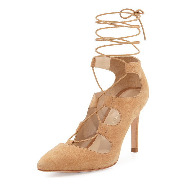 "LOEFFLER RANDALL Leila Suede Lace-Up Pump - Loeffler Randall suede pump. 4"" covered heel. Pointed toe...."