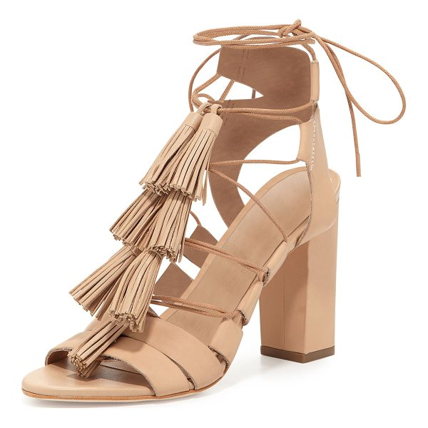 "LOEFFLER RANDALL Luz Tassel Lace-Up Leather Sandal - Loeffler Randall leather sandal. 4"" covered heel. Open toe...."