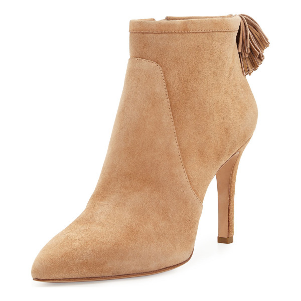 "LOEFFLER RANDALL Maryl Suede Pompom Bootie - Loeffler Randall suede bootie. 3.8"" covered heel. Pointed..."