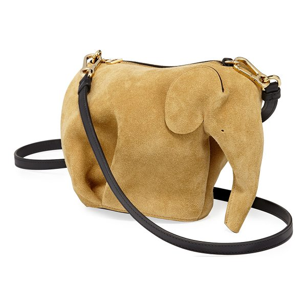 LOEWE Elephant Suede Mini Bag - Loewe elephant-shaped mini bag in calfskin suede. Golden...