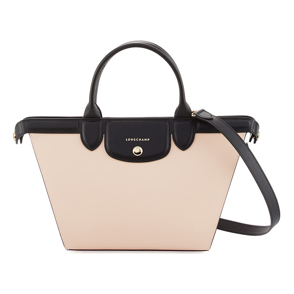 LONGCHAMP Le Pliage Heritage Colorblock Shoulder Bag - Longchamp saffiano leather colorblock shoulder bag. Golden...