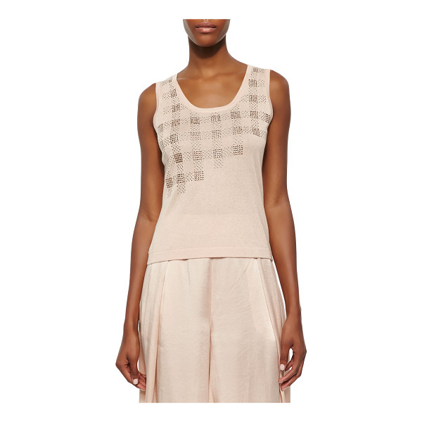 MAGASCHONI Embellished sleeveless tank -  Magaschoni knit tank with an asymmetric metallic plaid...