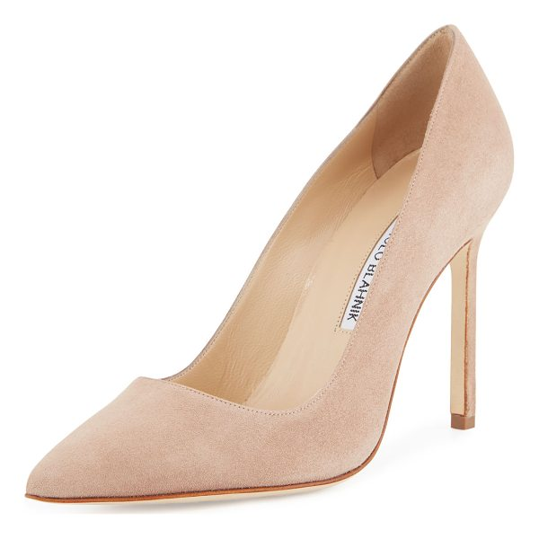 "MANOLO BLAHNIK BB 105mm Suede Pump (Pux Heel) - Suede with pointed toe and topstitched collar. 4"" heel;..."
