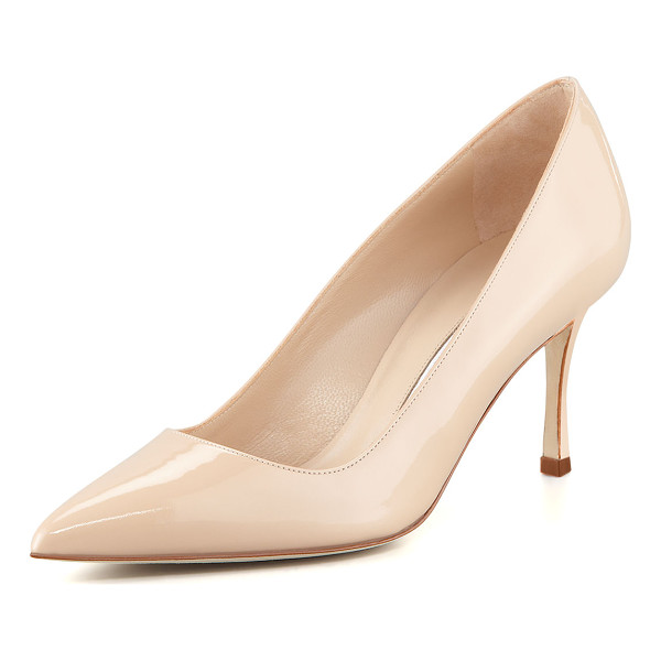 "MANOLO BLAHNIK BB 70mm Patent Leather Pump (Pin Heel) - Manolo Blahnik patent leather pump. 2.8"" covered heel."