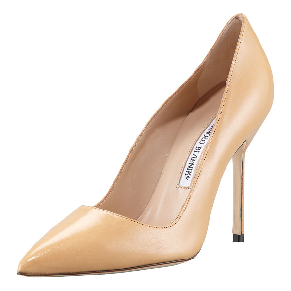 "MANOLO BLAHNIK BB Pointed-Toe Pump - Kid leather. Pointed toe; low-cut vamp. 4 1/4"" covered..."