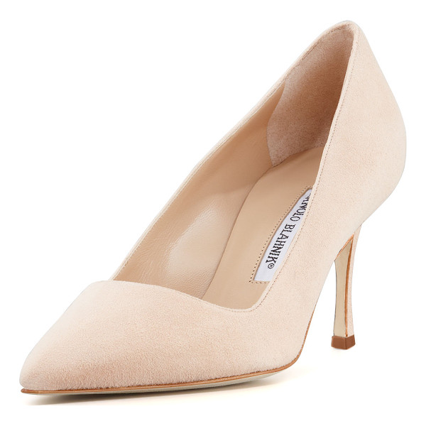 "MANOLO BLAHNIK BB Suede 70mm Pump - Manolo Blahnik suede pump. 2.8"" covered heel. Pointed toe...."