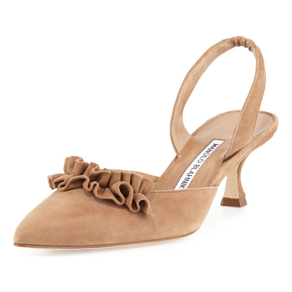 "MANOLO BLAHNIK Carolyne Ruffled Low-Heel Halter Pump - Manolo Blahnik raffia and leather pump. 2"" covered heel."