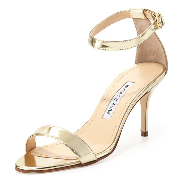 MANOLO BLAHNIK Chaos metallic ankle-wrap sandal - Metallic specchio leather. Low-cut vamp. Adjustable ankle...