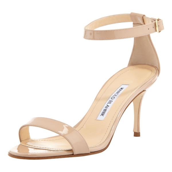 MANOLO BLAHNIK Chaos patent ankle-strap sandal - Patent leather. Low-cut d'Orsay vamp. Adjustable ankle...