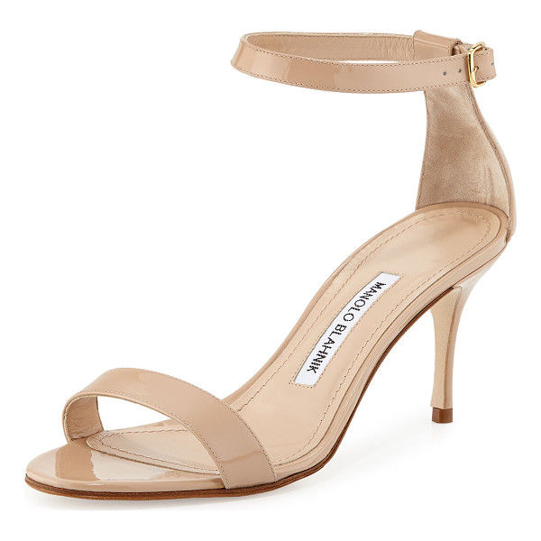 "MANOLO BLAHNIK Chaos Patent Ankle-Strap Sandal - Manolo Blahnik patent leather sandal. 2.8"" covered heel."