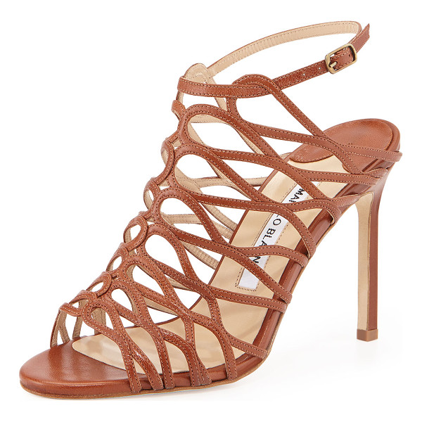 "MANOLO BLAHNIK Coddilla leather slingback sandal -  Manolo Blahnik strappy leather sandal. 4"" covered stiletto..."