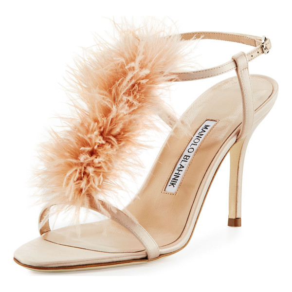 MANOLO BLAHNIK Elia Feather T-Strap 105mm Sandal - Manolo Blahnik satin sandal with marabou feather vamp. 4.3""