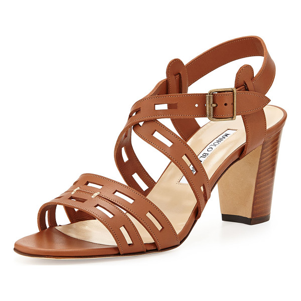 "MANOLO BLAHNIK Essa Leather Cutout Sandal - Manolo Blahnik leather sandal. 3"" covered block heel...."