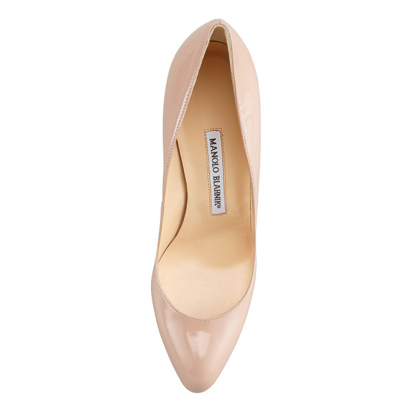 "MANOLO BLAHNIK Foka Almond-Toe Leather Pump - Patent pump features clean, almond-toe silhouette. 3 1/2""..."