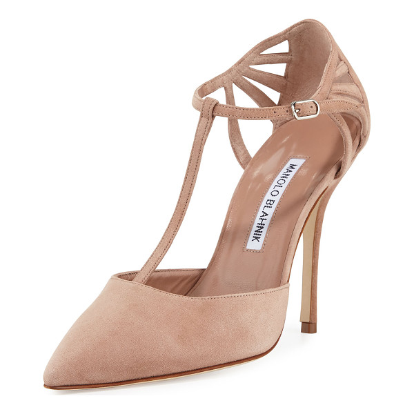 MANOLO BLAHNIK Getta Suede T-Strap 105mm Pump - ONLYATNM Only Here. Only Ours. Exclusively for You. Manolo...