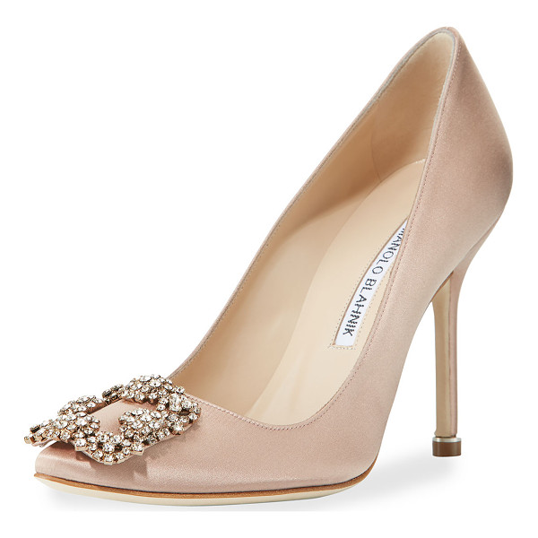 MANOLO BLAHNIK Hangisi Crystal-Buckle Satin 105mm Pump - Manolo Blahnik satin pump. Available in multiple colors.