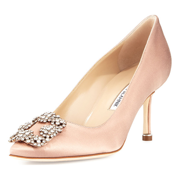 MANOLO BLAHNIK Hangisi Crystal-Buckle Satin 70mm Pump - Manolo Blahnik satin pump. Available in multiple colors....