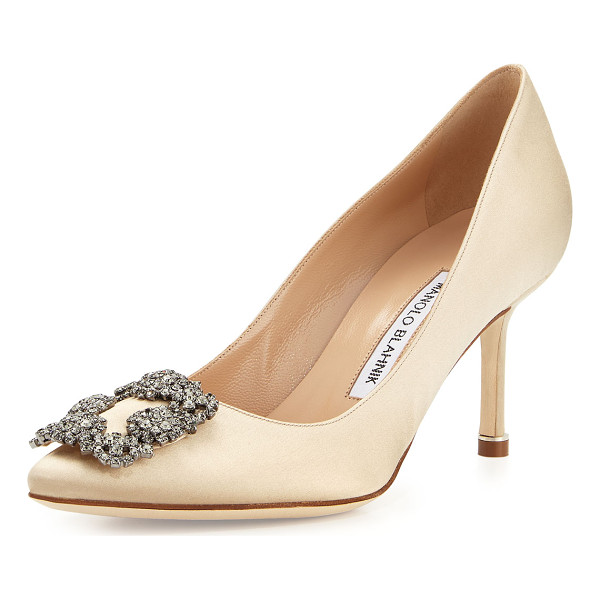 "MANOLO BLAHNIK Hangisi Crystal-Buckle Satin 70mm Pump - Manolo Blahnik satin pump. 2.8"" covered heel. Pointed toe..."