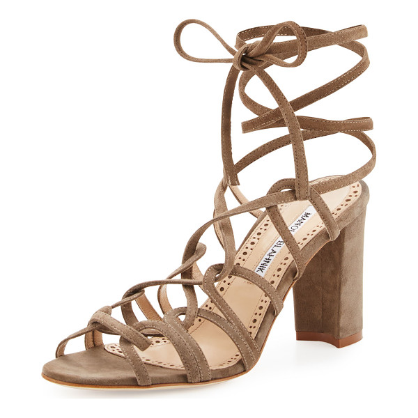 MANOLO BLAHNIK Jena Suede Lace-Up Sandal - ONLYATNM Only Here. Only Ours. Exclusively for You. Manolo...
