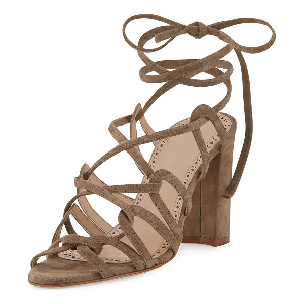 MANOLO BLAHNIK Jena Suede Lace-Up Sandal - ONLYATNM Only Here. Only Ours. Exclusively for You. Manolo