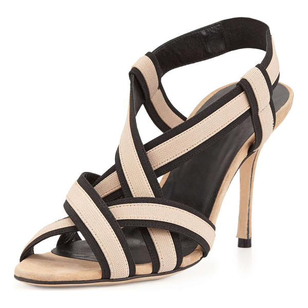 MANOLO BLAHNIK Lasti Stretch-Strap Crisscross Sandal - Manolo Blahnik sandal with bicolor stretch-strap upper....